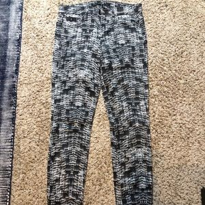 Joe's black and white patterned jeans
